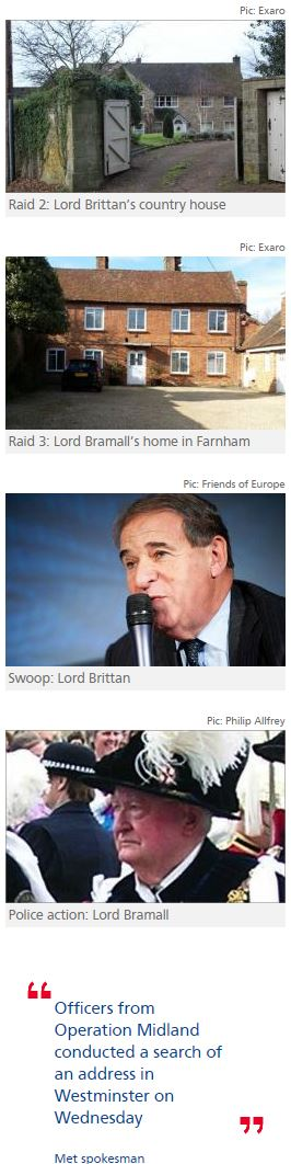 Police raid Leon Brittan's properties in London and Yorkshire